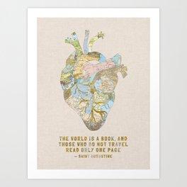 A Traveler's Heart + Quote Art Print