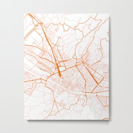 Street MAP Florence // Orange Metal Print