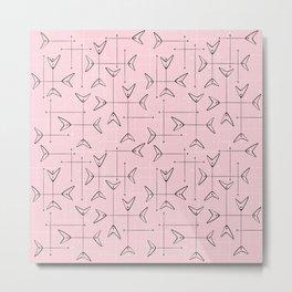 Boomerang Mobiles on Pink Metal Print