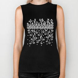 Strong Roots for Growth - White Black Biker Tank