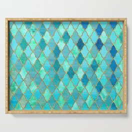 Aqua Teal Mint and Gold Oriental Moroccan Tile pattern Serving Tray