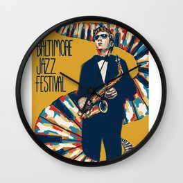 Jazz Festival Poster Wall Clock