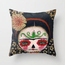 Frida The Catrina And The Skull - Dia De Los Muertos Mixed Media Art Throw Pillow