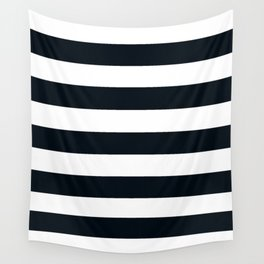 Rich black (FOGRA29) - solid color - white stripes pattern Wall Tapestry