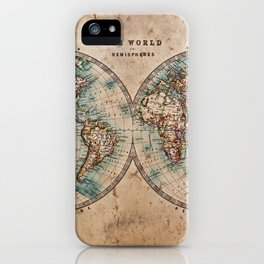 Vintage Map of the World 1800 iPhone Case
