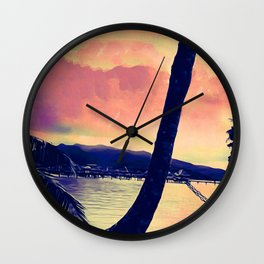Tempest Island (Warmer Version) Wall Clock
