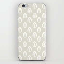 Abstract blush gray white polka dots leaves illustration iPhone Skin