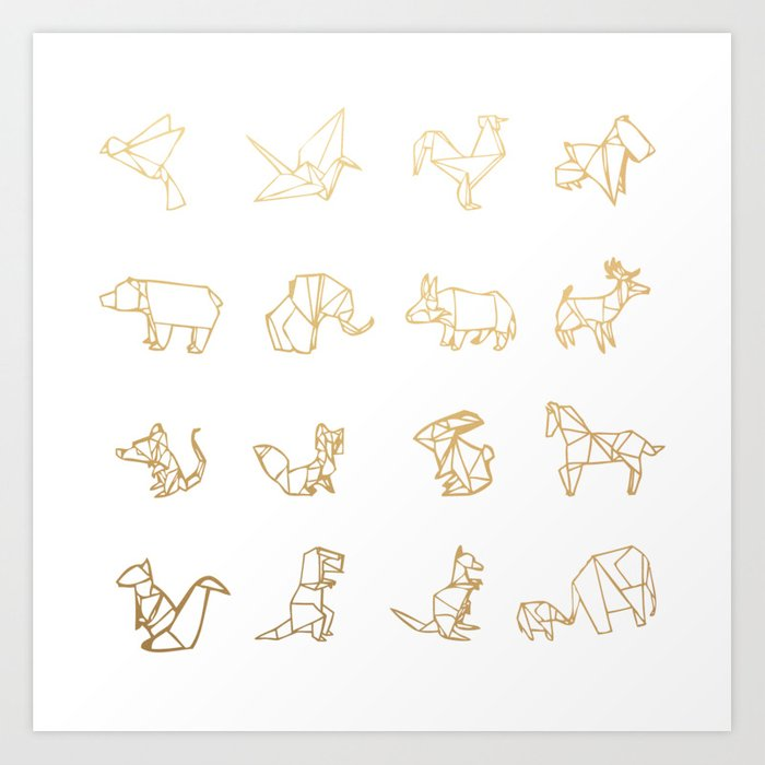 Origami Animals Gold Art Print By Starkle Society6 - Origamis-animales