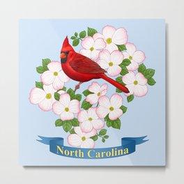 North Carolina State Bird and Flower Metal Print