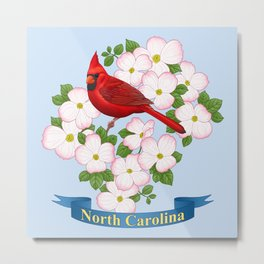 North Carolina State Bird and Flower Metal Print