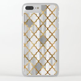Moroccan Tile Pattern In Grey And Gold Clear iPhone Case