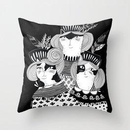 Cat Walk Trio Throw Pillow
