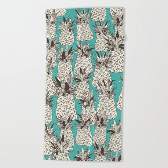 pineapple turquoise sea Beach Towel