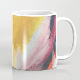 Ambition: a colorful abstract piece in bold yellow, blue, pink, red, and gold Coffee Mug