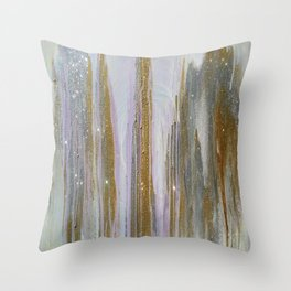 Gold and Silver Deluge Throw Pillow