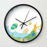dr seuss Wall Clocks featuring oh the places you'll go .. dr seuss by studiomarshallarts