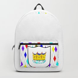 A Stained Glass Window with Shield and Crown Backpack