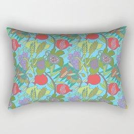 Seven Species Botanical Fruit and Grain with Aqua Background Rectangular Pillow