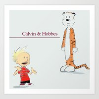 calvin and hobbes Art Prints featuring Calvin and Hobbes by MozaicPieces