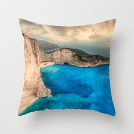 The famous Navagio (shipwreck) in Zakynthos island, Greece Throw Pillow