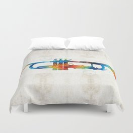 Colorful Trumpet Art Color Fusion By Sharon Cummings Duvet Cover
