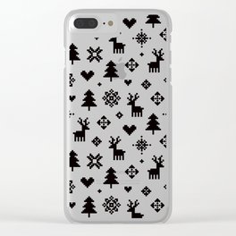 PIXEL PATTERN - WINTER FOREST Clear iPhone Case