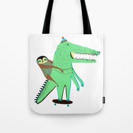 Crocodile and Sloth. Tote Bag