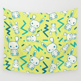 80's styled Easter illustration. Cute bunny included! Wall Tapestry