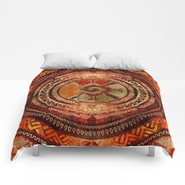 Hunab Ku Mayan symbol Burnt Orange and Gold Comforters