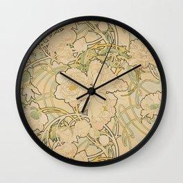 Alphonse Mucha -  Peonies Wall Clock