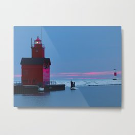 Lighthouse at sunset Metal Print