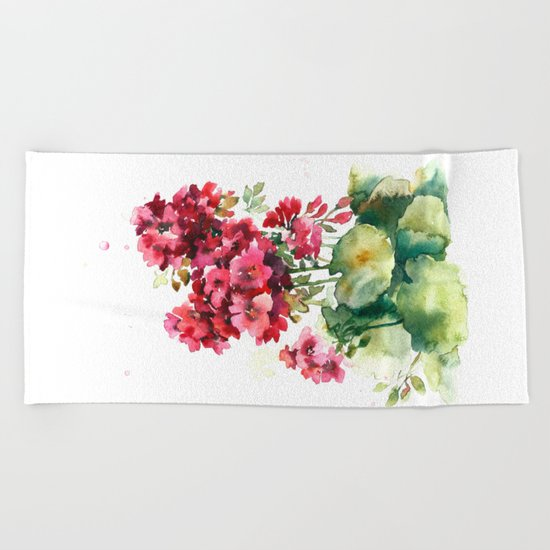 Watercolor geranium flowers Beach Towel