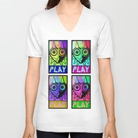 majora V-neck T-shirts featuring Majora Commands You by Shy Guy Street Art