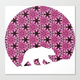 Geometric Fireweed Circle Bear Cutout Canvas Print