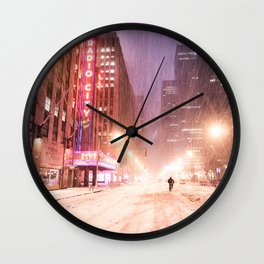 Snowstorm in New York City Wall Clock