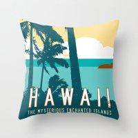 travel poster Throw Pillows featuring Hawaii Travel Poster by Michael Jon Watt