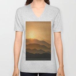 Sunrise in the mountains - beautiful morning - #Society6 #buyart Unisex V-Neck