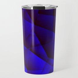 Dark contrasting blue fragments of crystals on triangles of irregular shape. Travel Mug