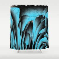 mineral Shower Curtains featuring Turquoise mineral by Gaspar Avila