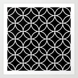 Interlinking Circles Pattern White on Black Art Print