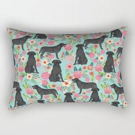 Labrador Retriever black lab floral dog breed gifts pet patterns florals black labs Rectangular Pillow