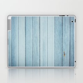Bright blue wood timber texture wall Laptop & iPad Skin