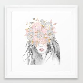 She Wore Flowers in Her Hair Rose Gold by Nature Magick Framed Art Print