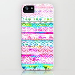 bohemian pattern in pink and turqupise soft colors iPhone Case
