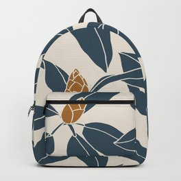 Rhododendrons before the bloom, Navy Leaves Backpack