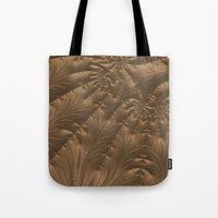 renaissance Tote Bags featuring Renaissance Brown by Charma Rose