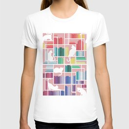 Rainbow bookshelf // blush pink background white shelf and library cats T-shirt