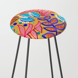Whimsical Leaves Pattern Counter Stool