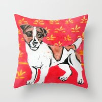 jack russell Throw Pillows featuring Jack Russell by Mandarin Duck Craft