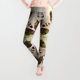 Magnolia Leaves and Insect Camoflage Pattern II Leggings